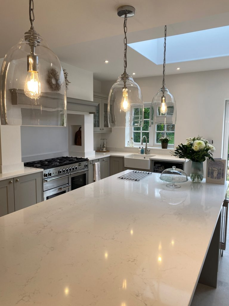 Quartz Kitchen Worktop - full slab of Classic Quartz Misterio Polished Quartz 3