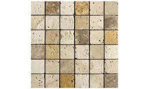 Classico Giallo Noce mixed tumbled mosaics
